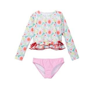 Azul Little Girls Pink Sweet Jane Long Sleeve Rash Guard Bikini Set