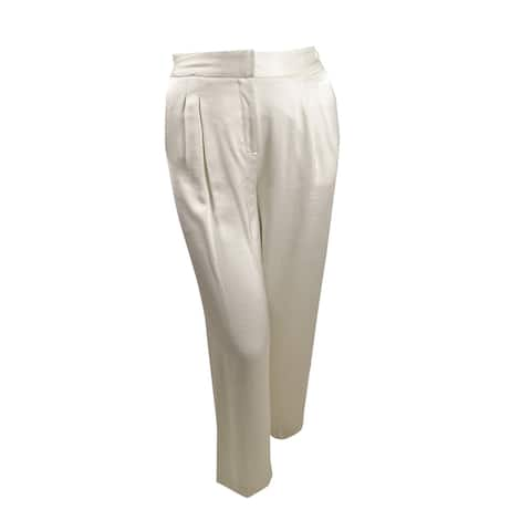 Vince Camuto Womens Wide-Leg Satin-Trim Pants (10, Pearl Ivory) - 10