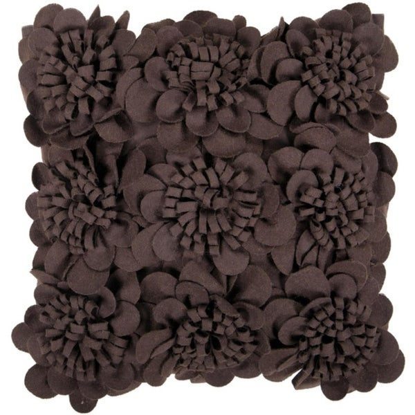 "18"" Brown Dimensional Applique Flower Blooms Decorative Down Throw Pillow"