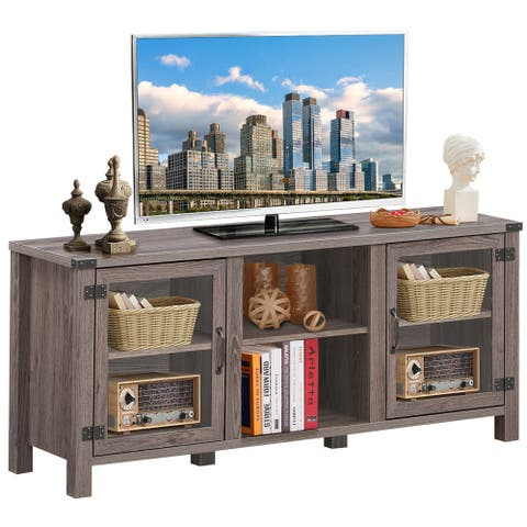 Gymax TV Stand Entertainment Center for TV's up to 65'' w/ Storage - 57'' x 15.5'' x 25'' (L x W x H)