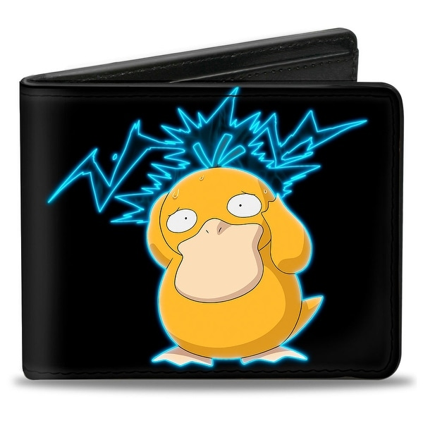 Psyduck Electric Psychic Powers Pose + Pokmon Logo Black Blues Bi Fold Bi-Fold Wallet - One Size Fits most
