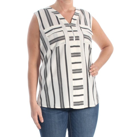 NY COLLECTION Womens Ivory Pocketed Zippered Striped Sleeveless V Neck Tank Wear To Work Top Size: L