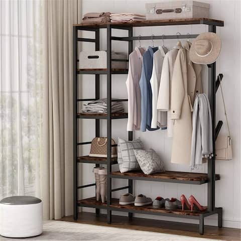 Free-Standing Closet Organizer with Hooks Garment Rack with Shelves and Hanging Rod - Rustic Brown
