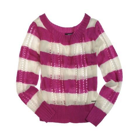 Ecko Unltd. Womens Open Neck Stripe Cable Knit Sweater