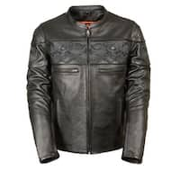 Mens Leather Reflective Skull Crossover Scooter Jacket