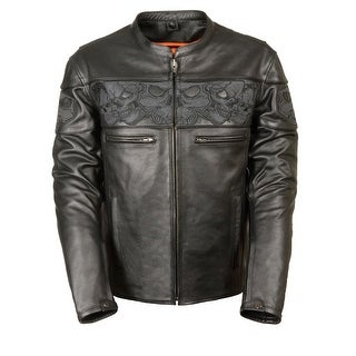 Mens Leather Reflective Skull Crossover Scooter Jacket (More options available)
