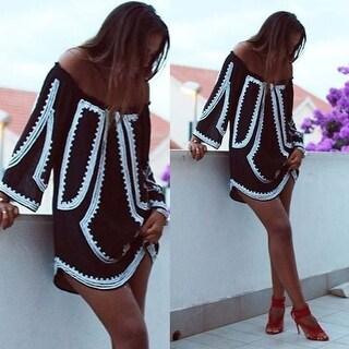 Boho Sexy Women Long Sleeve Party Evening Cocktail Summer Beach Mini Dress