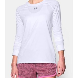 Women's Under Armour 1268483 Locker Long Sleeve Shirt White Large