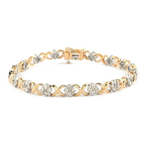 White Yellow Gold White Diamond Bracelet Size 7.5 Inch Ct 3 G H Color - Bracelet 7.5''