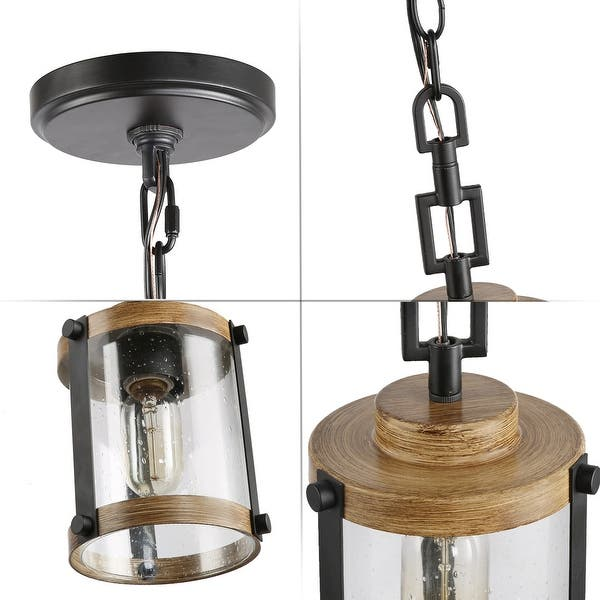 Modern Farmhouse Pendants Lighting For Kitchen Island Faux Wood Hanging Ceiling Lamp W 6 X H 14 5 W 6 X H 14 5 Overstock 31424083