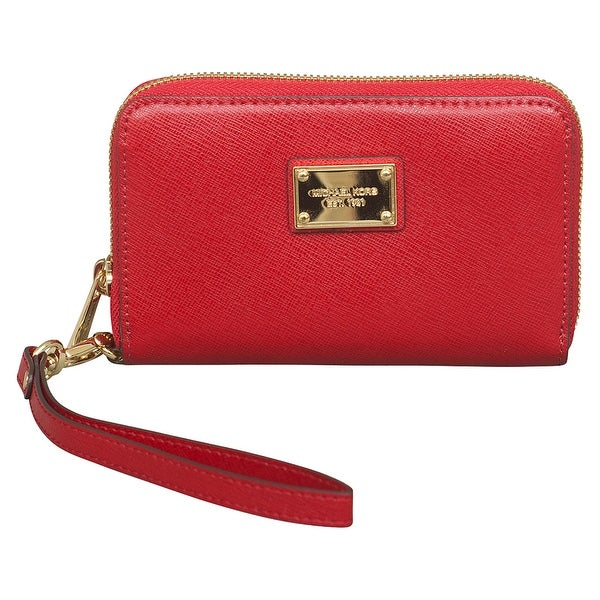 bf5748ee2d50 Shop Michael Kors Red Leather Essential Zip Wallet Clutch for Apple iPhone  - Free Shipping Today - Overstock - 22703623