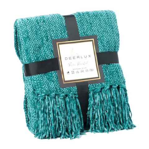 Decorative Chenille Throw Blanket with Fringe, Mustard