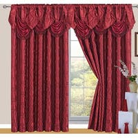 Raven Jacquard 2-Pack Rod Pocket Panel with Attached Valance and Backing, Burgundy, 110x84 Inches - 55x84