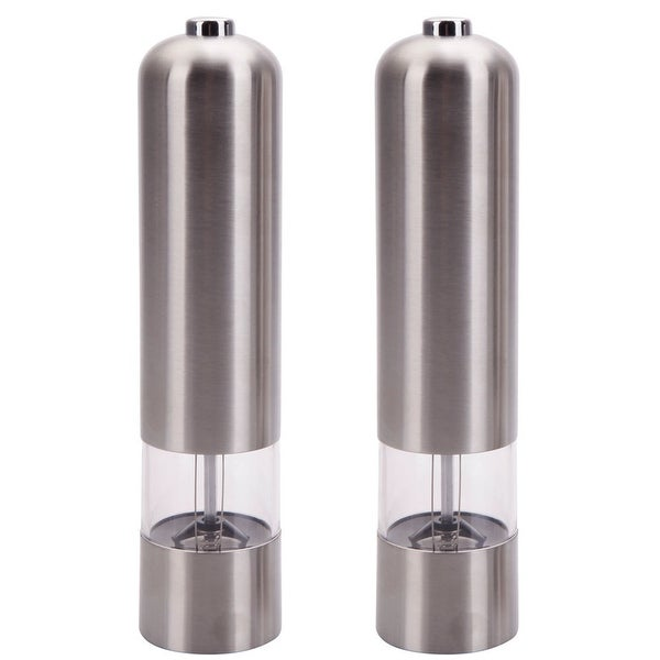 Silvertone Stainless Steel Electric Automatic Pepper Mill and Salt Grinder. Opens flyout.