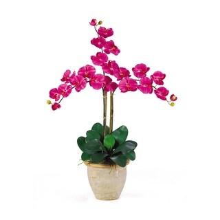 Nearly Natural Triple Stem Phalaenopsis Silk Orchid Flower Arrangement