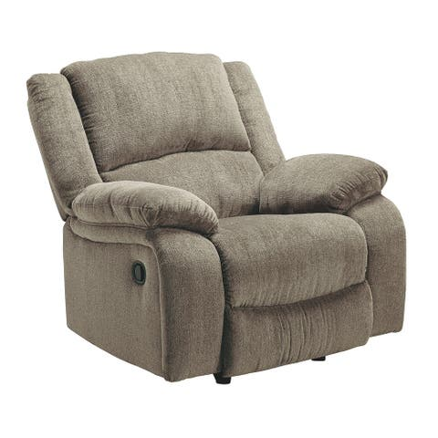 Fabric Upholstered Rocker Recliner with Pillow Arms, Taupe Brown