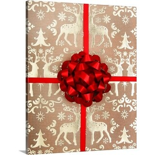 Premium Thick-Wrap Canvas entitled Christmas wrapping paper and bow.