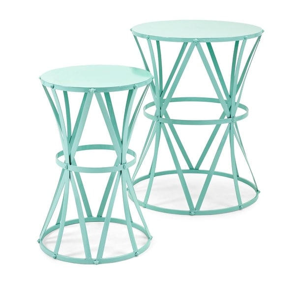 Superbe Shop Set Of 2 Teal Green Wrought Iron Accent Tables   N/A   Free Shipping  Today   Overstock   22055741