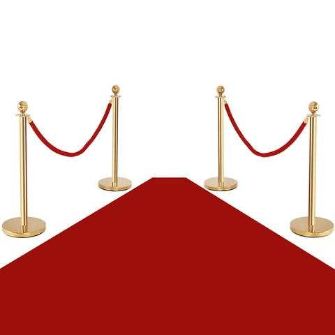Costway 4Pcs Stanchion Posts Queue Pole Retractable 2 Velvet Ropes Crowd Control Barrier