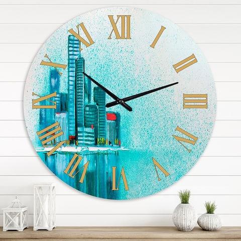 Designart 'Cityscape By The River I' Modern wall clock