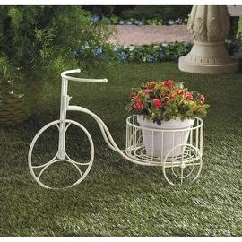 White Metal Tricycle Planter
