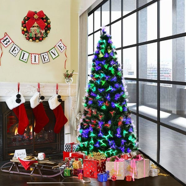 Costway 6FT Pre-lit Fiber Optic Artificial Christmas Tree w/ Multi-color Lights & Stand