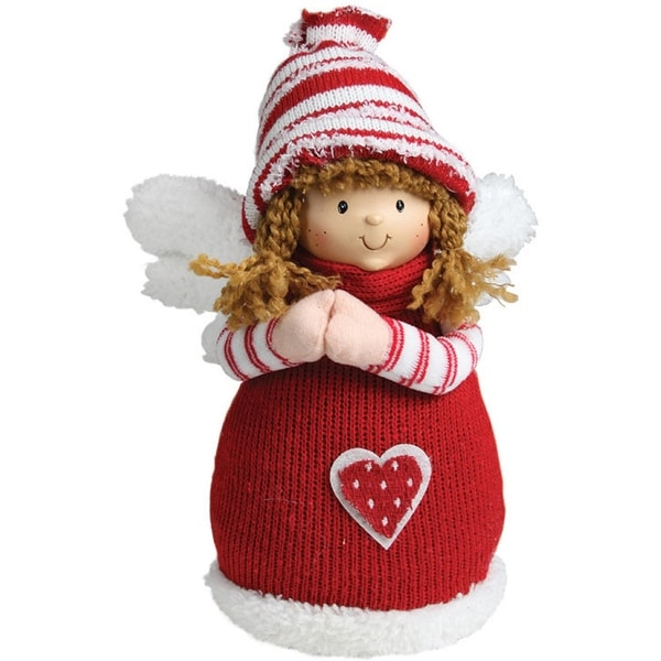 "10.5"" Red and White Angel Girl with Heart Inspirational Christmas Tabletop Decoration"