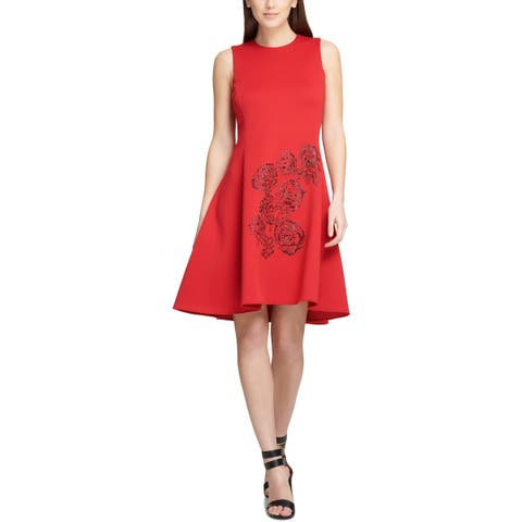 DKNY Womens Scuba Dress Embellished Sleeveless