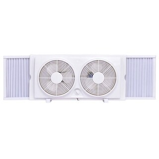 Costway 7'' Dual Blade Twin Window Fan 2-Speed Setting Reversible AirFlow Manual Control - White