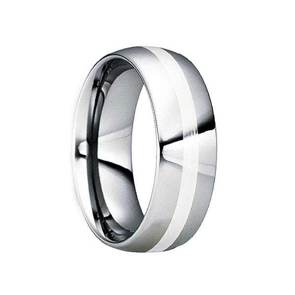 TATANIUS Platinum Inlaid Polished Tungsten Carbide Wedding Ring by Crown Ring - 6mm