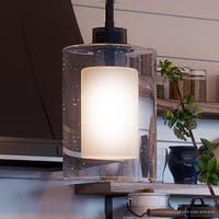 """Luxury Contemporary Pendant Light, 10""""H x 5.875""""W, with Modern Farmhouse Style, Charcoal  Finish by Urban Ambiance"""