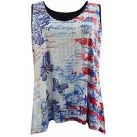 Women Plus Size Sleeveless Special Star Print Summer Tank Top Butterfly