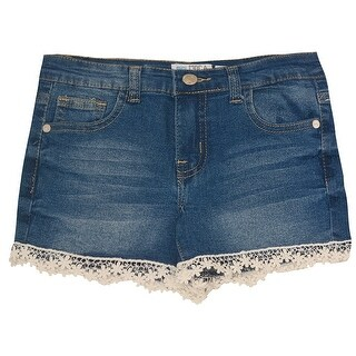 Mini Moca Girls Blue Denim Lace Trimmed Hem Stretchy Trendy Shorts (5 options available)