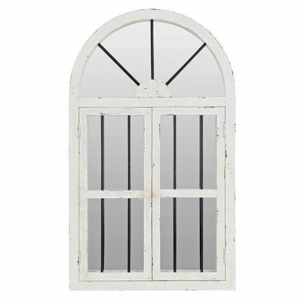 """Aspire Home Accents 74397 42"""" Arched Window Wall Mirror - White - N/A"""