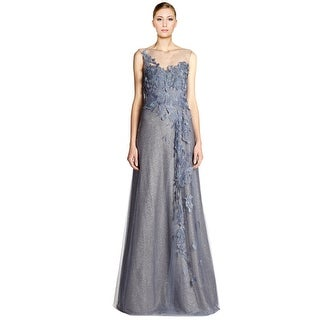 Rene Ruiz Floral Applique Rhinestone Embellished Tulle Evening Gown Dress - 12