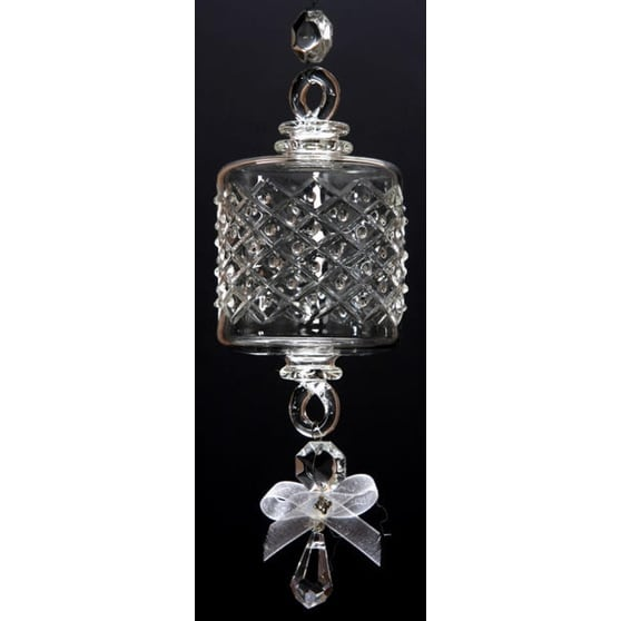 """Set of 3 Mouth Blown Egyptian Crystal Barrel Shaped Drop Christmas Ornament 6.5"""" - CLEAR"""
