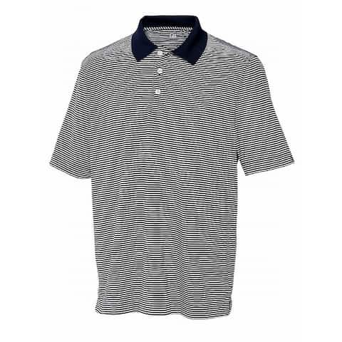 Cutter & Buck Mens Shirts Blue Size 2XL Polo Striped Moisture-Wick