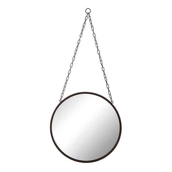 Round Metal Framed Mirror with Chain - Rust. Opens flyout.