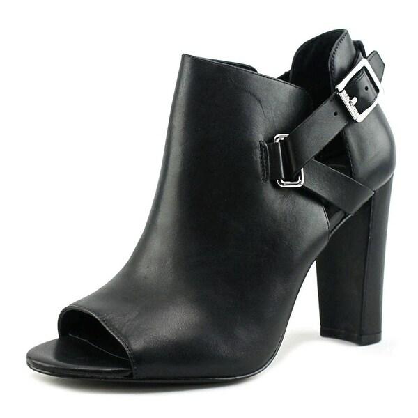 Lauren Ralph Lauren Kadence Women Open-Toe Leather Black Ankle Boot