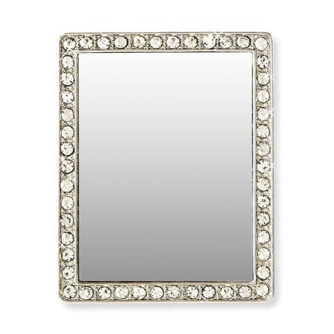 iDecoz Phone Mirror: Silver Rectangle w/ Crystals - Multi