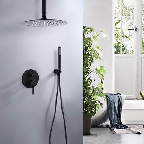 """Ceiling Mount Round Shower Combo Set with 10"""" Rain Shower head and Handheld Shower Head Set with Pressure Balancing Valve"""
