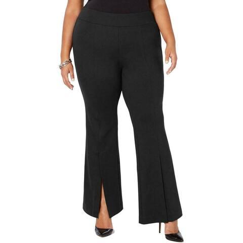 INC Women's Pants Black Size 22W Plus Flare Leg Front Slit Stretch