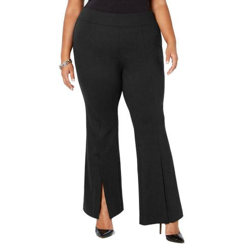 INC Womens Pants Black Size 22W Plus Split Front Flare Pull On Stretch