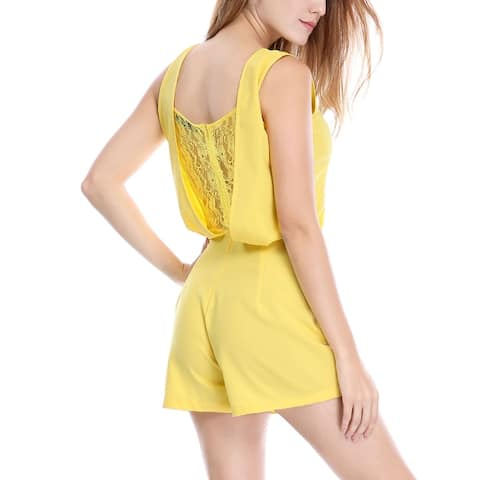 Women Sleeveless Crew Neck Lace Insert Back Romper - Yellow