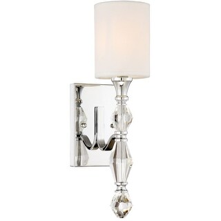 "Designers Fountain 89901 Evi Single Light 17"" Tall Wallchiere Style Wall Sconce with Crystal Accents - Chrome"
