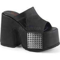 Demonia Women's Camel 101 Platform Slide Black Vegan Leather