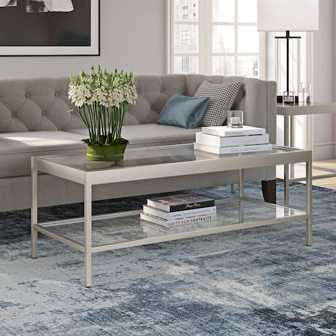 Alexis Modern Metal and Glass Coffee Table