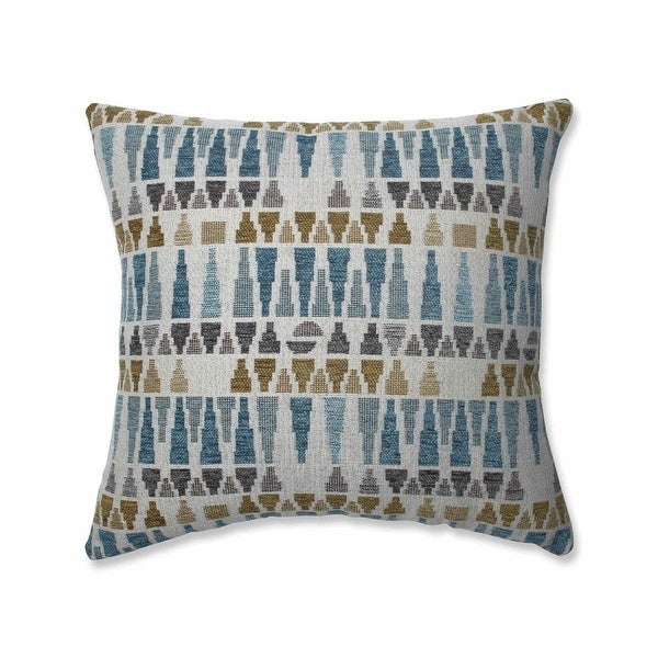 "16.5"" Gray and Sky Blue Geometric Square Throw Pillow with Sewn Seam Closure"