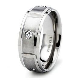 8mm Satin Finished Titanium Ring with 5 CZs  (Sizes 8-12)