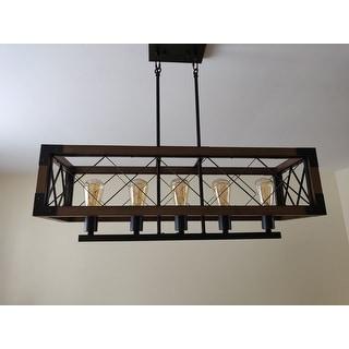 Aurora Antique Black Rectangular Metal and Natural Wood Chandelier